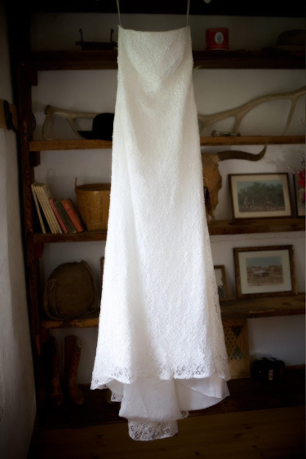 White dress in the study at the circle G ranch in Fountain Hills, Arizona